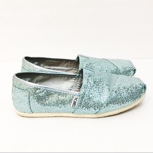 TOMS Blue Sparkly Shoes